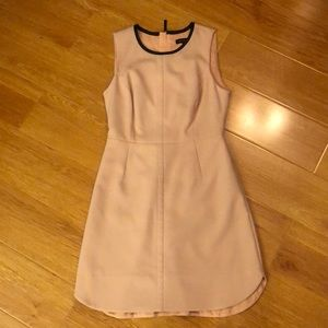 BR pink dress w/ pockets, leather detail, zipper